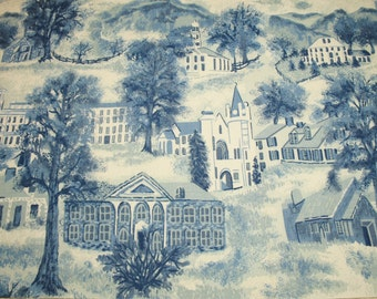 "Very Rare Blue Grandma Moses ""Williamstown Toile"" Unused Vintage Barkcloth - 46 by 16.5 Inches"