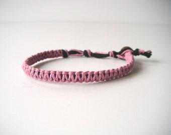 Pink Hemp Bracelet, Hemp Anklet, Indie Hemp Works, Hemp Bracelets, Hemp Anklets, Fuchsia, Rose, Salmon, Coral, Hippie Jewelry, Hemp Jewelry