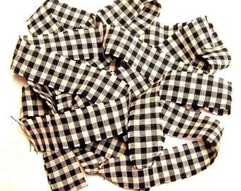 1 yard Homespun Cotton Fabric Ribbon Black Cream Check