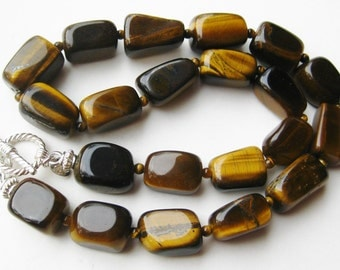 Vintage Tiger Eye Nugget Bead Sterling Silver Toggle Clasp Necklace