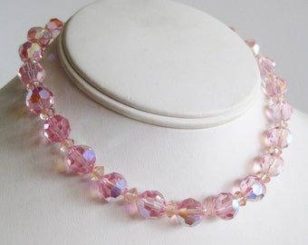 Vintage 50s Pink Aurora Borealis Crystal Glass Bead Single Strand Choker Necklace