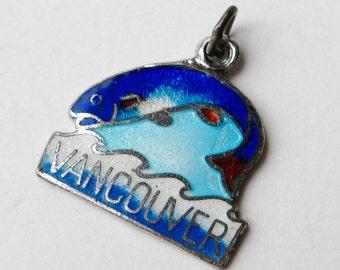 Vintage Charm Vancouver Canada Sterling Silver Guilloche Enamel Souvenir Bracelet Charm