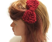 Dark Red Bow Clip Crochet Bow Hair Bow Clip Red Hair Accessory