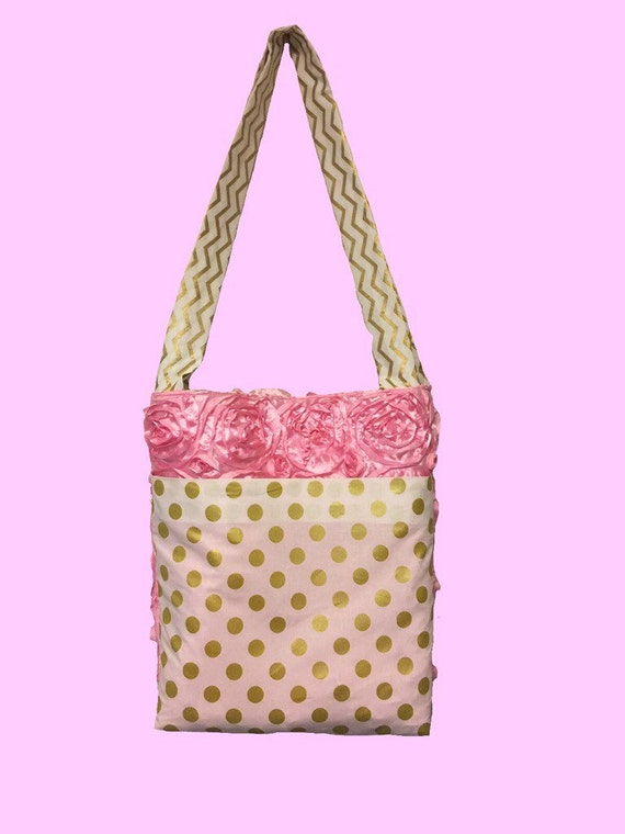 items similar to pink rosette gold chevron diaper bag tote bag with fre. Black Bedroom Furniture Sets. Home Design Ideas