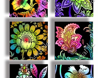 Bright Flowers 1.5 Inch and 1 Inch Squares, Digital Printable Collage Sheets  Multicolored Floral Images for Pendants & Paper Craft  CS 432