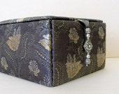 Charcoal grey silk jewelry box, decorative storage box or trinkets box