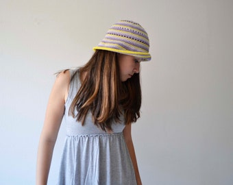 Sun woman hat Crochet bucket hat Sun cloche hat for summer Lilac hat accessories summer