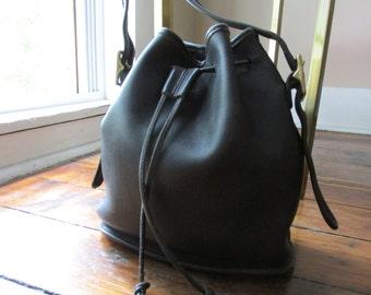 Vintage Black Leather COACH Drawstring Shoulder Bag