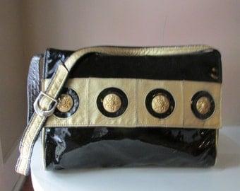 Vintage Black Leather Shoulder Bag Designed by Saereun New York, 1980s