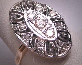 Antique Diamond Wedding Ring Vintage Art Deco White Gold Engagement c.1920