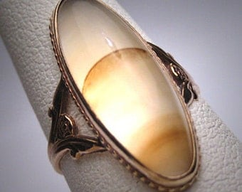 Antique Banded Moonstone Agate Ring Victorian 1890 Gold Setting