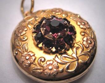 Rare Antique Gold Amethyst Locket Rose Gold Art Nouveau Victorian 1900