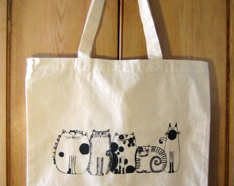 Cats in a Row Canvas Tote Bag
