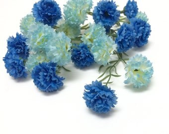 Artificial Flowers - One Lot Two Tone BLUE Mini Mums - Flower Crown, Halo, Woodland Crown