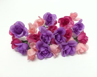 Artificial Flowers - One Lot BUDGET Quality Mini Roses - Flower Crown, Halo, Wedding Flowers