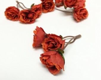 12 Dry Look ORANGE SPICE Mini Roses - SMALL Flowers, Flower Crown, Halo, Silk Flowers, Artificial Flowers, Hair Accessories, Wedding, Hat