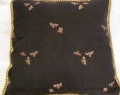French Country Provence Cottage Pillow Black Gold Bumble Bee Garden