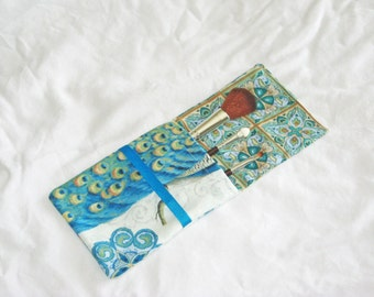 NEW Parisian Peacock Make Up Brush Pouch
