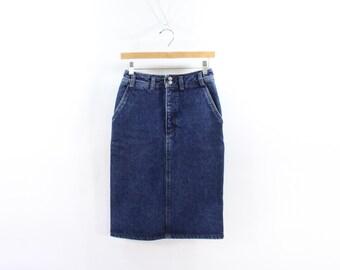 VINTAGE Calvin Klein Jean Skirt Dark Blue Denim Small