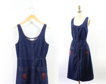 VINTAGE 1970s Denim Dress Dark Blue Burnt Orange Medium
