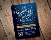 DIY Printable Twinkle Twinkle Gender Reveal Invitation, Gold Glitter Invitation, Gender Reveal Invitation, Twinkle Twinkle Invitation