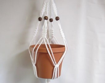 Macrame Plant Hanger 28 in Vintage strong 6mm White cord with BEADS