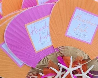 Paddle Fan with Starfish, Beach Wedding Program
