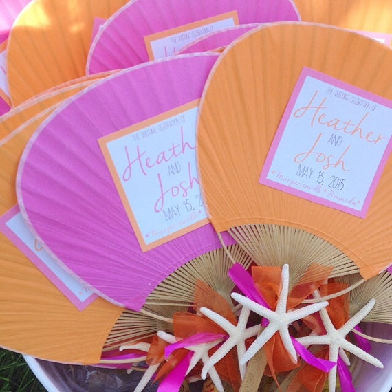 Paddle fan with starfish beach wedding program for Wedding paddle fans