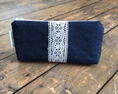 Clearance *** Pencil Case/Cosmetic Bag/ Gadget Case - Chambray and Lace - Ready to Ship