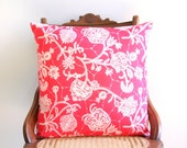 "red and cream floral reversible pillow cover, 18"" x 18"", nautical, cottage chic, patriotic, blue ticking, jute webbing, summer decor"