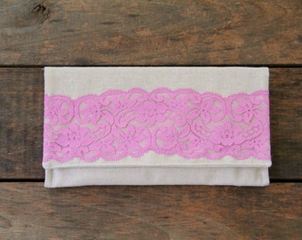 clutch purse in natural with pink vintage lace, bridesmaid, summer fashion