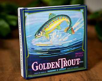 Small Fishing Journal - Golden Trout Brand  - Fruit Crate Art Print Cover
