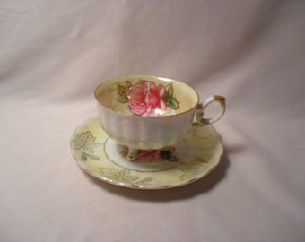 L M Royal Halsey Rose Teacup and Saucer Fine China Decorative Tea Set
