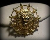 Anne Klein Fleur de Lis Lion's Head Earrings