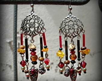 Filigree Earrings with Red, Purple and Gold Beads