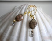Ocean Jasper Earrings, Oval Stones, Swarovski Crystals, Gold Plated, Kidney Shaped Ear Wires, Hand Made, One of a Kind.