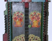 Antique Folk Art Wood Mercantile Patch Sewing Cabinet Hand Painted