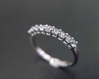 Aquamarine Wedding Ring in 14 White Gold