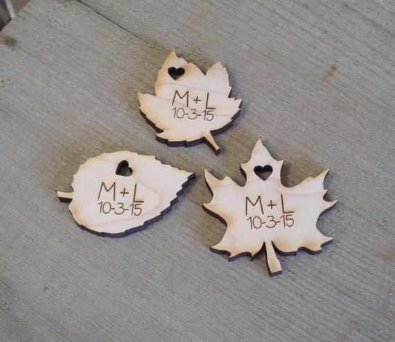 Wood Leaf Wedding Favors Personalized Set of 100  Fall Wedding Spring Leaves