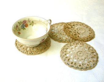 20% Off- Shabby chic Cup Coasters, Antique Lace crochet coasters, Shabby chic home decor, Table living room decor, Country French decor