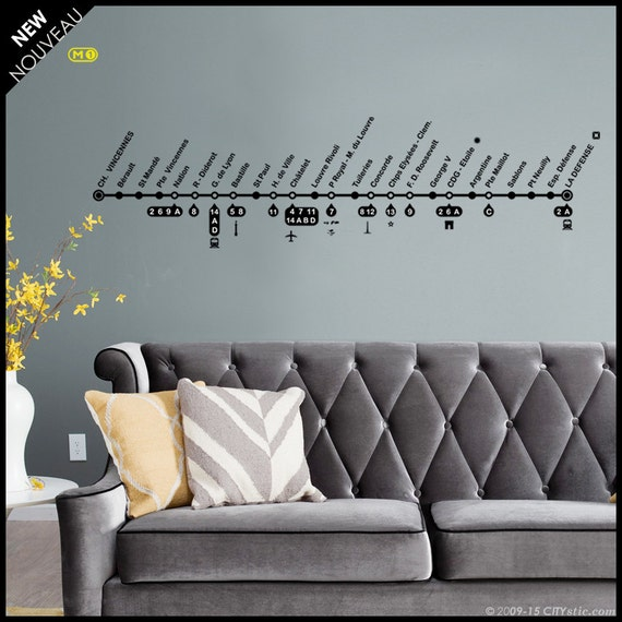 PARIS WALL DECAL : Mythic Line 1 of the Parisian Subway, Champs Elysées, Châtelet, Town center with stations