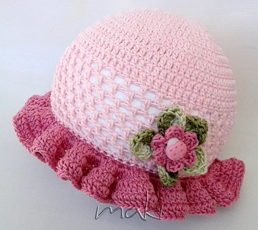 Baby Crochet Patterns For Summer : Crochet pattern Lea summer hat Summer baby hat crochet