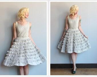 1950s Dress // Rumba Ruffle Dress // vintage 50s dress