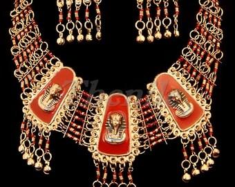 EGYPTIAN redenameled king tutankhamunsetofnecklace &Earrings MEGA SALE