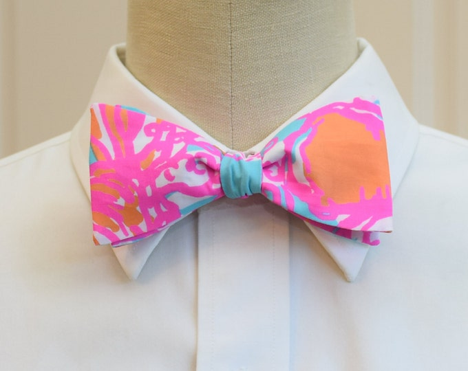 Men's Bow Tie, Feeling Tanked, turquoise, hot pink Lilly print, wedding bow tie, groom bow tie,  groomsmen gift, prom bow tie, Derby bow tie