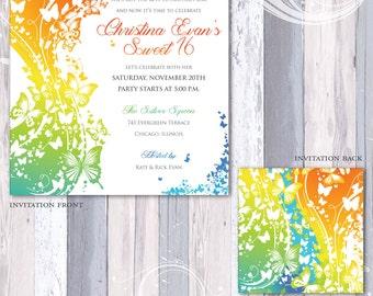 Rainbow Butterfly Invitation