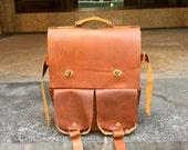Pennstation backpack, handmade leather bag, expandable travel rucksack, handmade leather backpacks, rucksacks, travel bags by Aixa Sobin