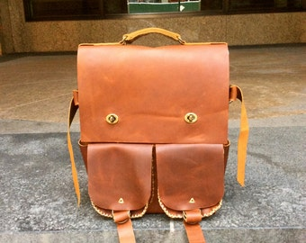 Leather backpack, Brown laptop bag, Cognac leather, Weekend backpack, Travel satchel, Leather computer bag, Laptop rucksack, Travel backpack