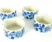 Floral Blue White Ceramic Napkin Rings Table Setting Lot of 4
