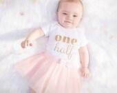 ONE Half Birthday bodysuit, gold glitter, ONE half birthday, baby girl, glitter tee, sparkly shirt, 6 month birthday, 6 months, baby girl